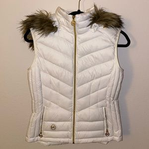 Michael Kors Puffer Vest w/ Detachable Fur Hood